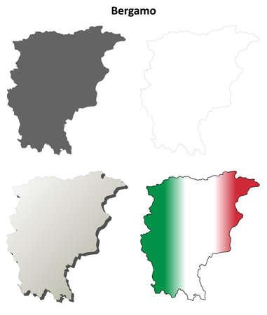 lombardy: Bergamo blank province detailed outline map set Illustration