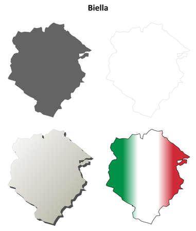 Biella province blank detailed outline map set Ilustracja