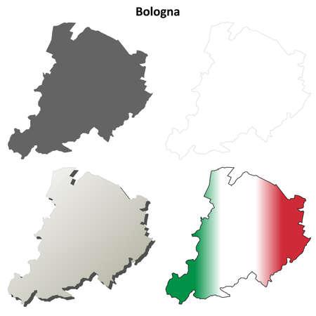 bolognese: Bologna province blank detailed outline map set
