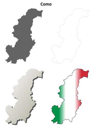 province: Como province blank detailed outline map set