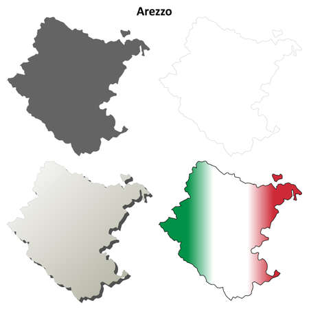 province: Arezzo province blank detailed outline map set