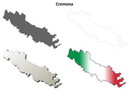 province: Cremona province blank detailed outline map set