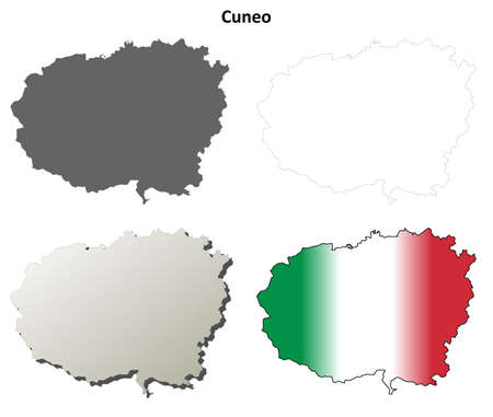 cuneo province: Cuneo province blank detailed outline map set Illustration