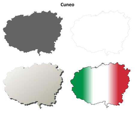 Cuneo province blank detailed outline map set Ilustração