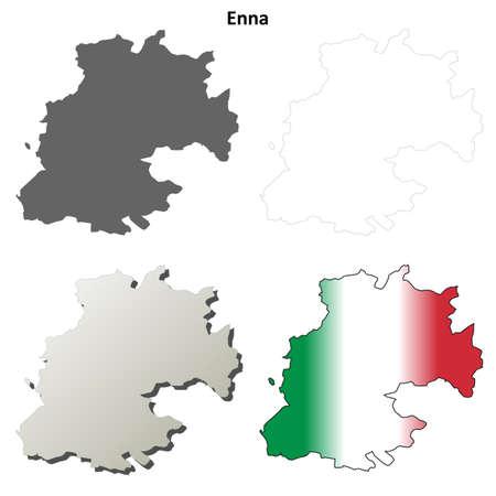 province: Enna province blank detailed outline map set Illustration