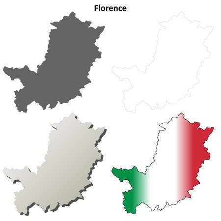 florence: Florence province blank detailed outline map set