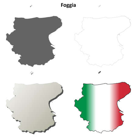 foggia: Foggia province blank detailed outline map set
