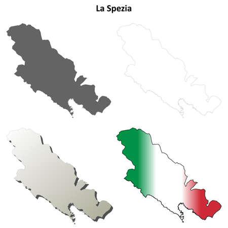 la: La Spezia province blank detailed outline map set Illustration