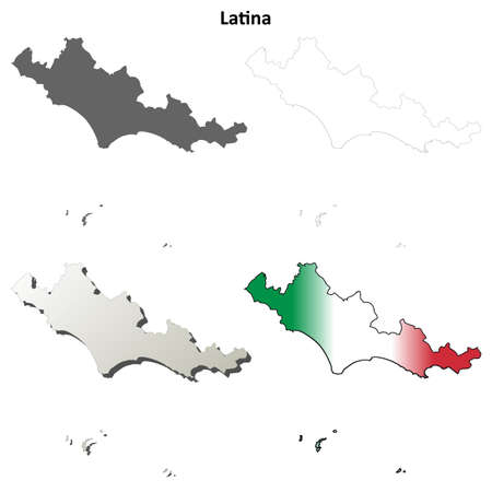 province: Latina province blank detailed outline map set