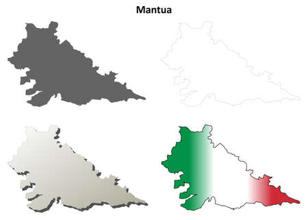 lombardy: Mantua province blank detailed outline map set