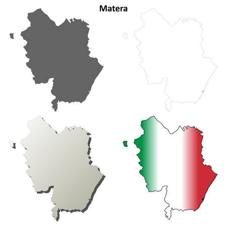 italia: Matera province blank detailed outline map set