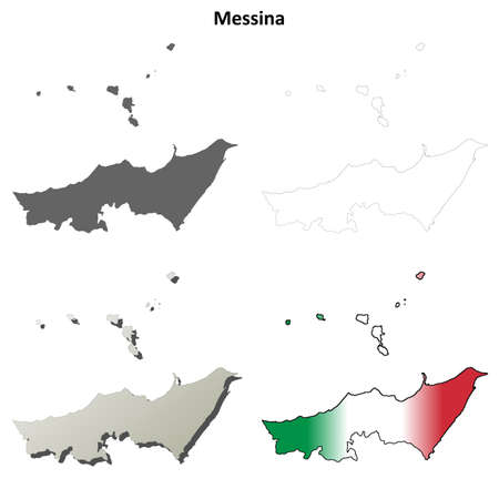 italia: Messina province blank detailed outline map set