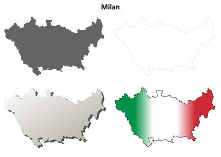 lombardy: Milan province blank detailed outline map set Illustration