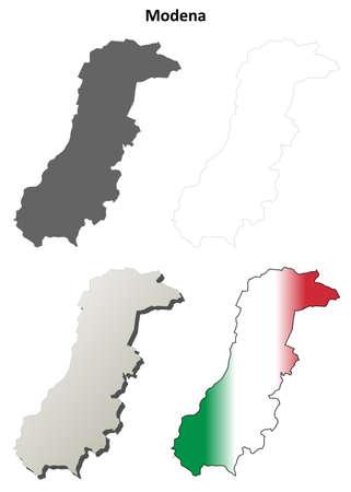 province: Modena province blank detailed outline map set