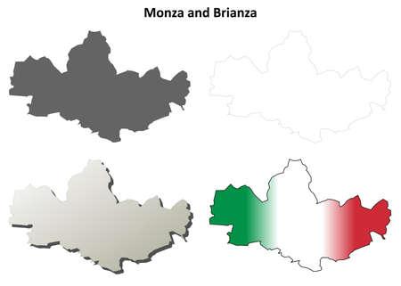 몬자와 브리 안자 (Brianza) 지방 빈 상세한 개요지도 세트