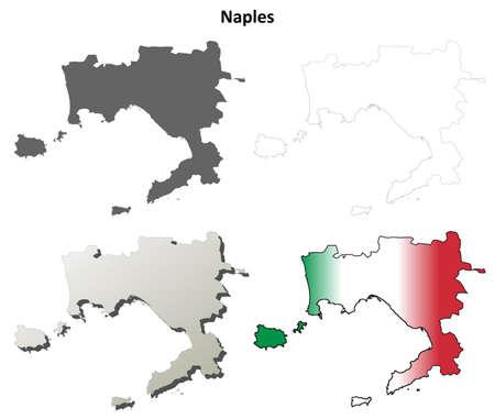 naples: Naples province blank detailed outline map set