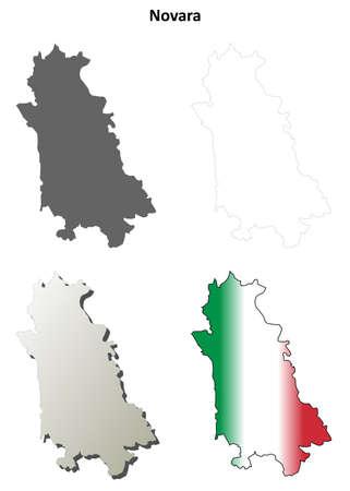 Novara province blank detailed outline map set Ilustração