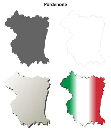 province: Pordenone province blank detailed outline map set Illustration