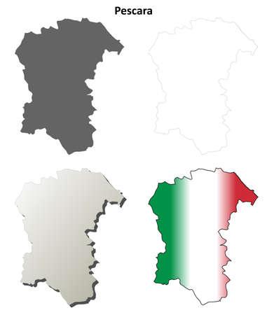 province: Pescara province blank detailed outline map set Illustration