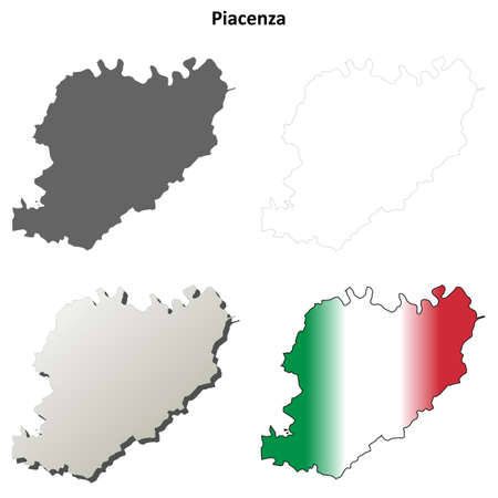 piacenza: Piacenza province blank detailed outline map set