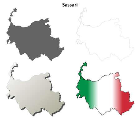province: Sassari province blank detailed outline map set