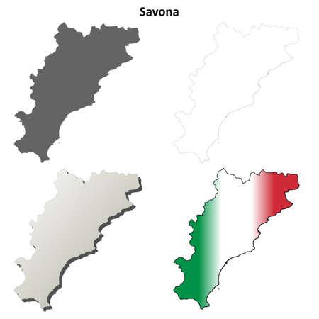 province: Savona province blank detailed outline map set Illustration