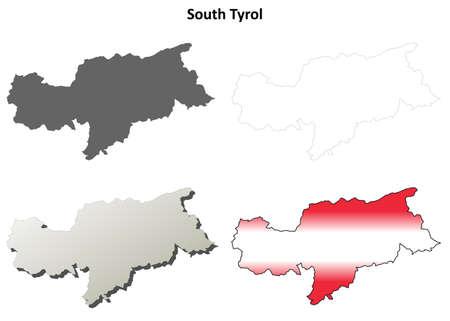tyrol: South Tyrol blank detailed outline map set - Austrian version