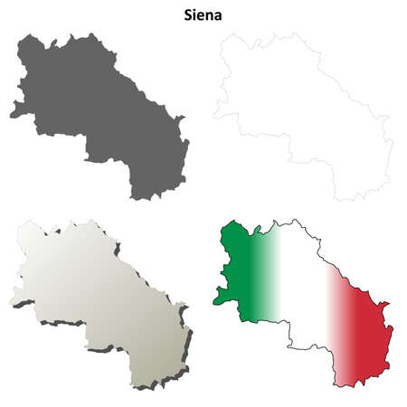 siena italy: Siena province blank detailed outline map set