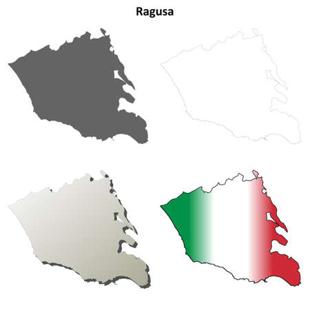 ragusa: Ragusa province blank detailed outline map set Illustration