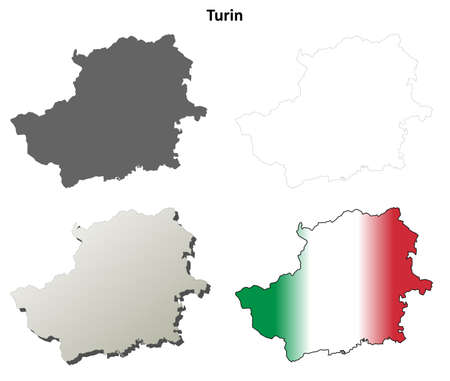 Turin province blank detailed outline map set