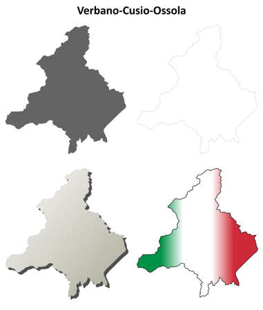 Verbano-Cusio-Ossola province blank detailed outline map set