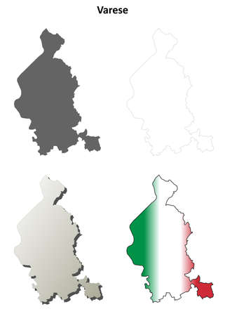 lombardy: Varese province blank detailed outline map set
