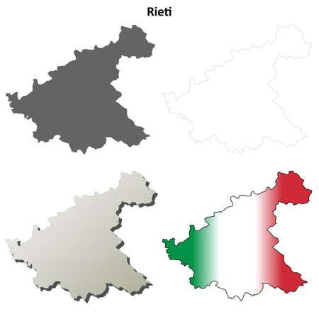 lazio: Rieti province blank detailed outline map set