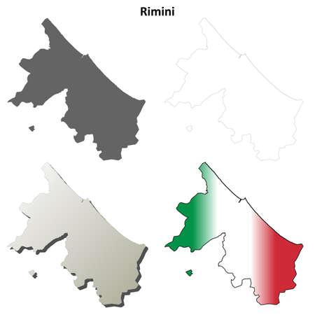 rimini: Rimini province blank detailed outline map set Illustration