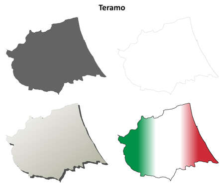 province: Teramo province blank detailed outline map set Illustration