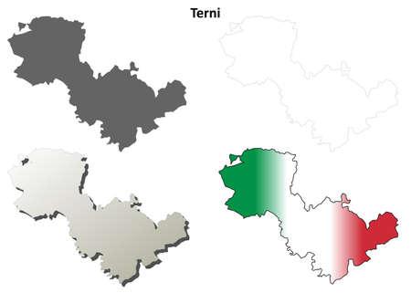 terni: Terni province blank detailed outline map set