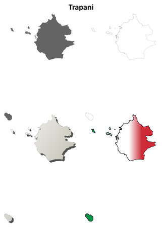 region sicilian: Trapani province blank detailed outline map set - vector version