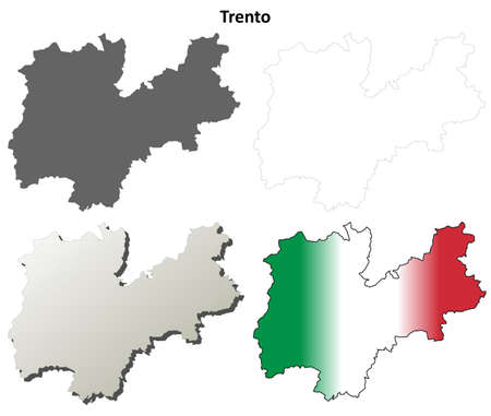 Trento province blank detailed outline map set