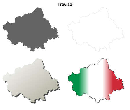 treviso: Treviso province blank detailed outline map set
