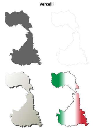 Vercelli province blank detailed outline map set Ilustração