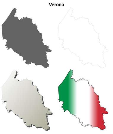province: Verona province blank detailed outline map set Illustration