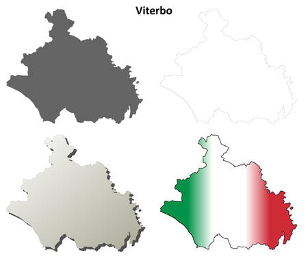 viterbo: Viterbo province blank detailed outline map set