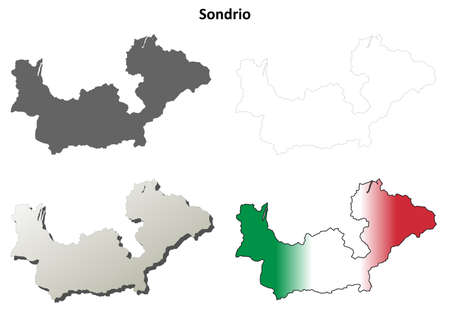 lombardy: Sondrio province blank detailed outline map set