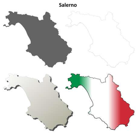 province: Salerno province blank detailed outline map set