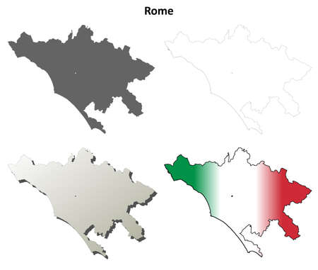 Rome province blank detailed outline map set