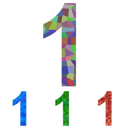 no 1: Colorful mosaic textured number design - number 1