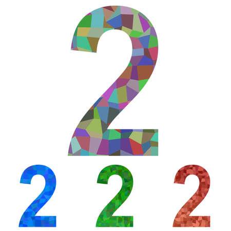 number 2: Colorful mosaic textured number design - number 2 Illustration