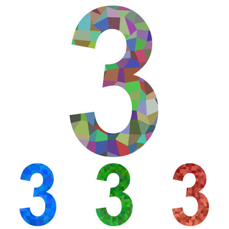 number 3: Colorful mosaic textured number design - number 3 Illustration