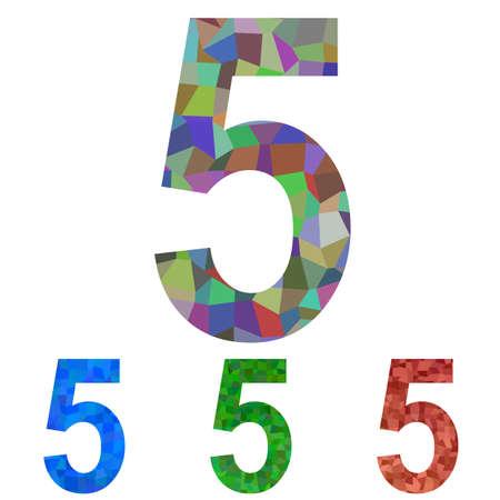 number 5: Colorful mosaic font design set - number 5