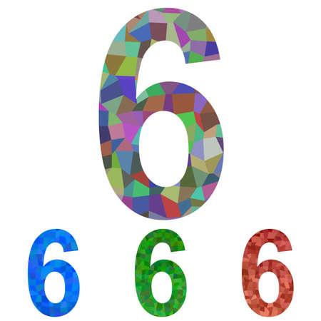 number 6: Colorful mosaic font design set - number 6 Illustration